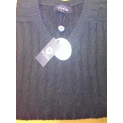 Viyella Lambswool Kabelstrik Sweater med V-hals - Klassisk strik fra England
