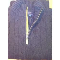 Kabelstrik Sweater med Zip-hals fra GANT